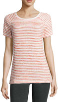 Liz Claiborne Short-Sleeve Stripe Boucle Raglan Top
