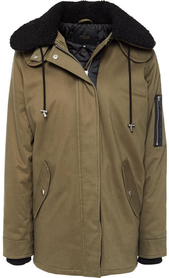 Maje Faux Fur-trimmed Cotton-blend Hooded Coat