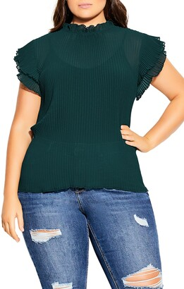 City Chic Off Beat Ruffle Sleeve Top