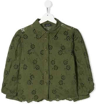 MonnaLisa TEEN perforated floral shirt
