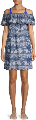 Tommy Bahama Tropical-Print Off-the-Shoulder Coverup Dress