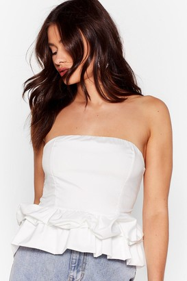 Nasty Gal Womens Shoulder and Wiser Bandeau Ruffle Top - White - M/L