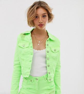 Parisian Petite denim jacket in neon green