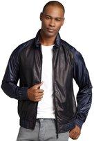 Z Zegna blue nylon and leather hoodie varsity jacket