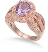 Suzy Levian 4 1/2 CT TW Topaz and Pink Amethyst Rose-Plated Silver Oval Cut Halo Ring