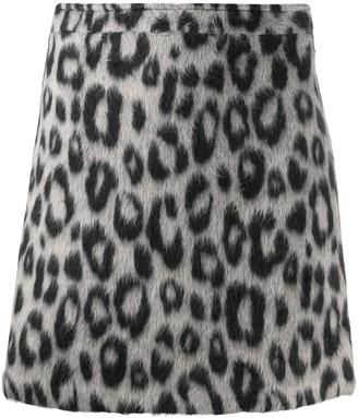 Andamane Snow Leopard Felt Mini Skirt