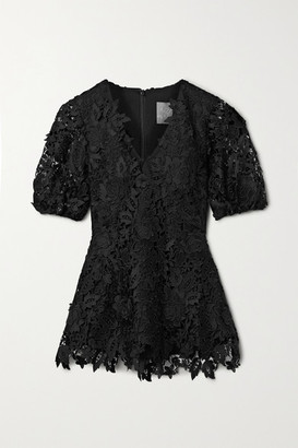 Lela Rose Embroidered Guipure Lace Blouse - Black