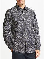 John Lewis Floral Print Shirt, Navy