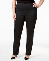 Charter Club Plus Size Cambridge Tummy-Control Plaid Pull-On Pants, Only at Macy's