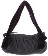 Miu Miu Velvet-Trimmed Chambray Shoulder Bag