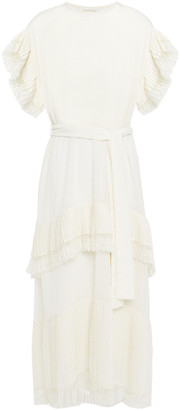 Zimmermann Espionage Lace-trimmed Pleated Swiss-dot Georgette Midi Dress