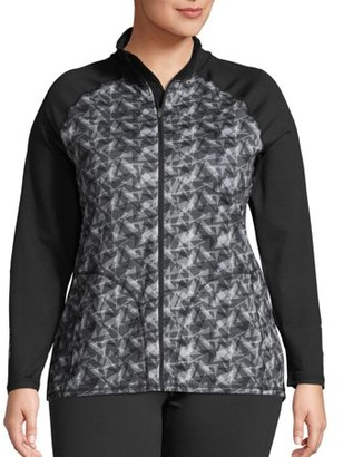 Just My Size Women's Plus Size Active Full Zip Mock Neck Jacket