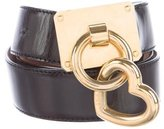 Moschino Heart-Accented Leather Belt