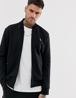 Polo Ralph Lauren Black & Gold Capsule zip through jersey bomber jacket player logo in black