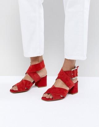 Asos Design DESIGN Tosh Suede Crossover Block Heeled Sandals-Red