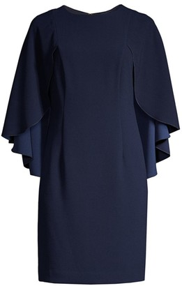 Trina Turk Wilderness Cape-Sleeve Dress