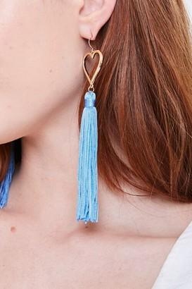Forever 21 Tasseled Heart Duster Earrings