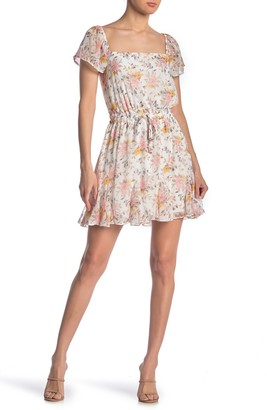 Rowa Flutter Sleeve Floral Print Godet Dress