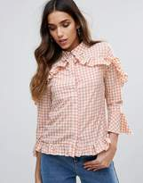 Missguided Check Frill Detail Blouse