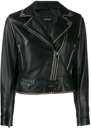 Pinko faded hem biker jacket
