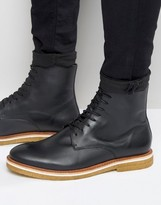 Zign Leather Crepe Sole Lace Up Boots