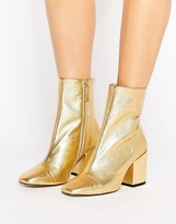 MANGO Gold Leather Ankle Boot