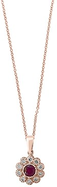 Bloomingdale's Certified Ruby & Diamond Milgrain Pendant Necklace in 14K Rose Gold - 100% Exclusive