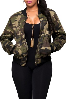 Zilcremo Women Camouflage Jackets Coats Zipper Up Army Military Bomber Jacket Outcoat Camouflage L
