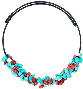 Aeravida Handmade Lovely Turquoise Synthetic Coral Pearl Choker Wire Necklace