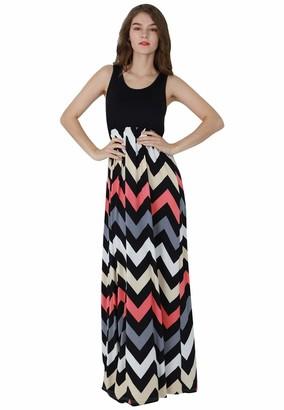 OMZIN Women Sundress Sleeveless Maxi Dress Striped Summer Dress Black Gray M