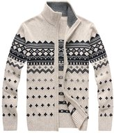 OCHENTA Men's Thin Printed Stand Collar Zipper Knitted Cardigan Sweater