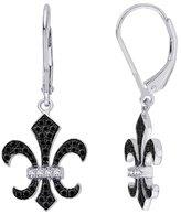 """KATARINA Lever Back and White Diamond """"Fleur-De-Lis"""" Earrings in 10K White Gold (1/2 cttw)"""