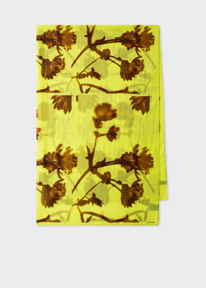 Women's Yellow 'Screen Floral' Print Scarf