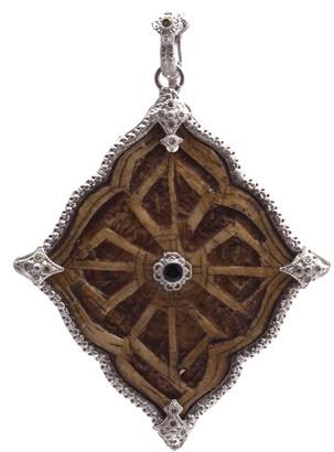 Armenta New World Sterling Silver Wood Leaf Diamond & Tourmaline Pendant