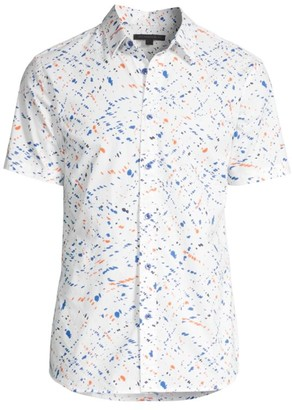 John Varvatos Doug Regular-Fit Abstract Short-Sleeve Shirt