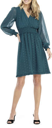 Gal Meets Glam V-Neck Long-Sleeve Smocked Chiffon Fit-and-Flare Dress