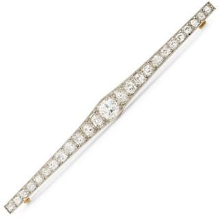 Stephanie Windsor Art Deco Platinum, 18K Yellow Gold & Diamond Bar Brooch