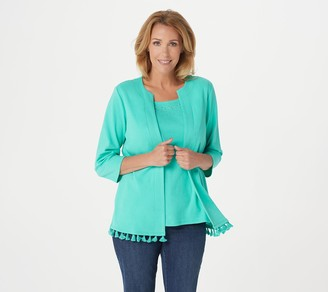 Factory Quacker 3/4-Sleeve Knit Duet with Rhinestone Detail