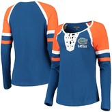 New Era Women's 5th & Ocean by Royal Florida Gators Lace-Up Raglan Long Sleeve T-Shirt