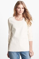 Vince Camuto Perforated Faux Leather Front Stretch Knit Top