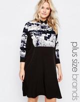 AX Paris Plus Shirt Dress With Smudge Print Top