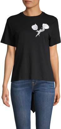 Oscar de la Renta Embroidered Tulip High-Low Tee