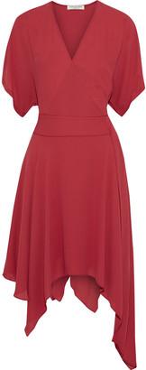 Halston Wrap-effect Asymmetric Crepe De Chine Dress