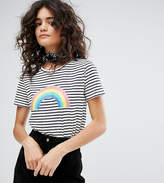 People Tree Organic Cotton T-Shirt With Rainbow Graphic In Stripe