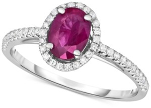 Macy's Certified Ruby (3/4 ct. t.w.) & Diamond (1/6 ct. t.w.) Ring in 14k White Gold (Also available in Sapphire and Emerald)