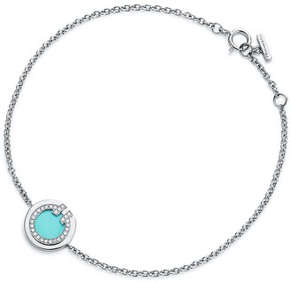 Tiffany & Co. T diamond and turquoise circle bracelet in 18k white gold