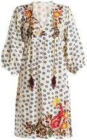 Velvet by Graham & Spencer Emilie embroidered floral-print linen dress