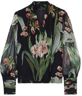 Elie Tahari Laya Floral-print Silk-georgette Blouse