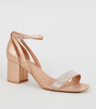 New Look Wide Fit Diamante Block Heels