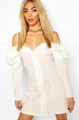 boohoo Cotton Cold Shoulder Puff Sleeve Mini Dress